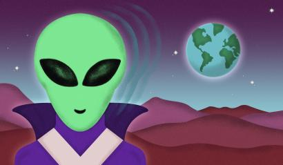 Illustration of a martian looking at Earth