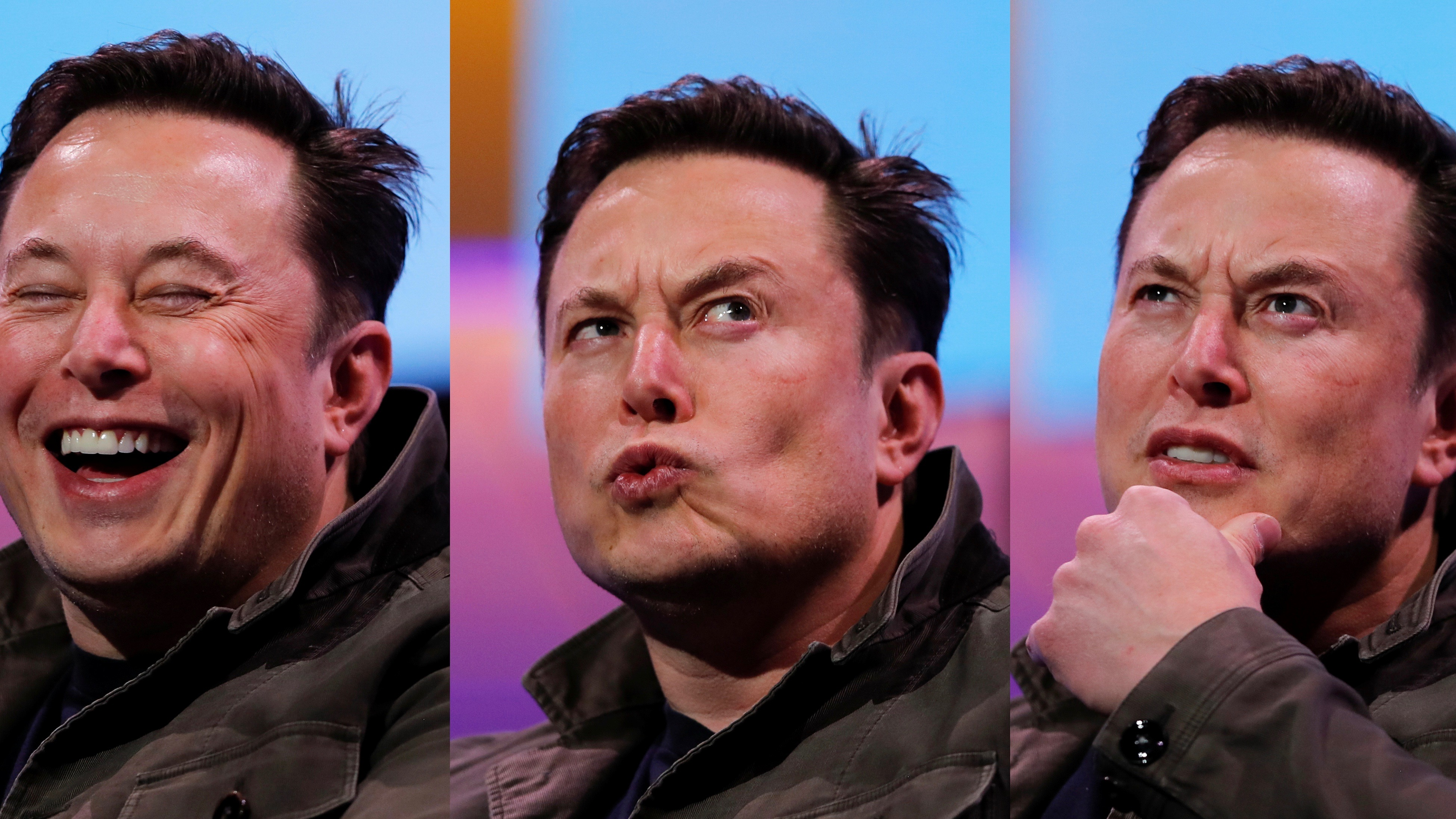 Three facial expressions of Elon Musk, shown in a photographic montage. One smiling, one thinking, one perplexed.