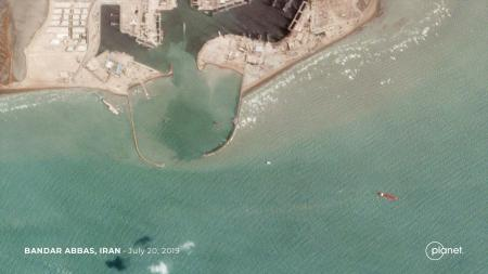 The seized tanker Stena Impero moored outside the Iranian port of Bandar Abbas.