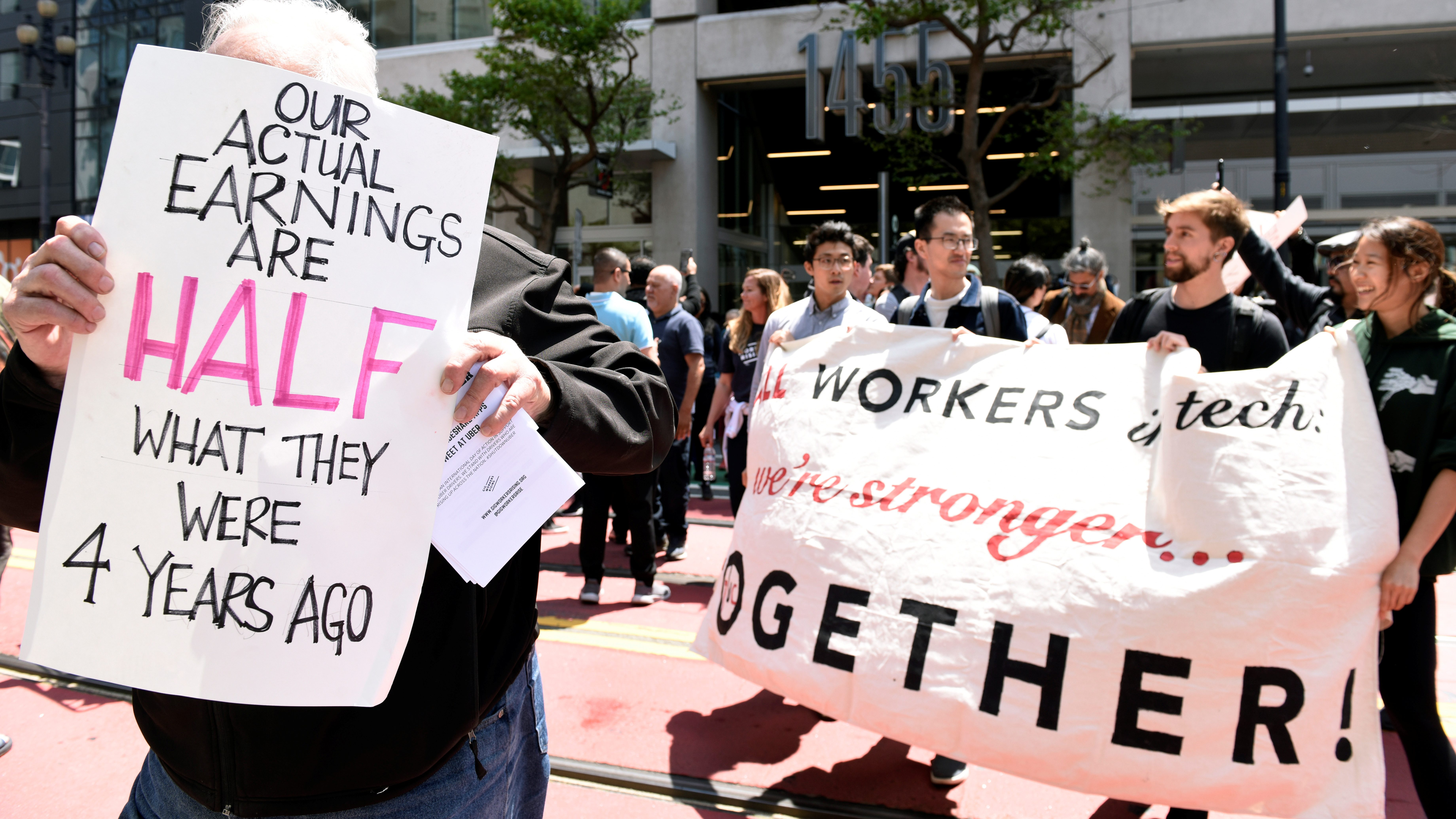during a strike against the company's recent 25 percent wage cut outside Uber's head office in San Francisco, California, U.S., May 8, 2019.