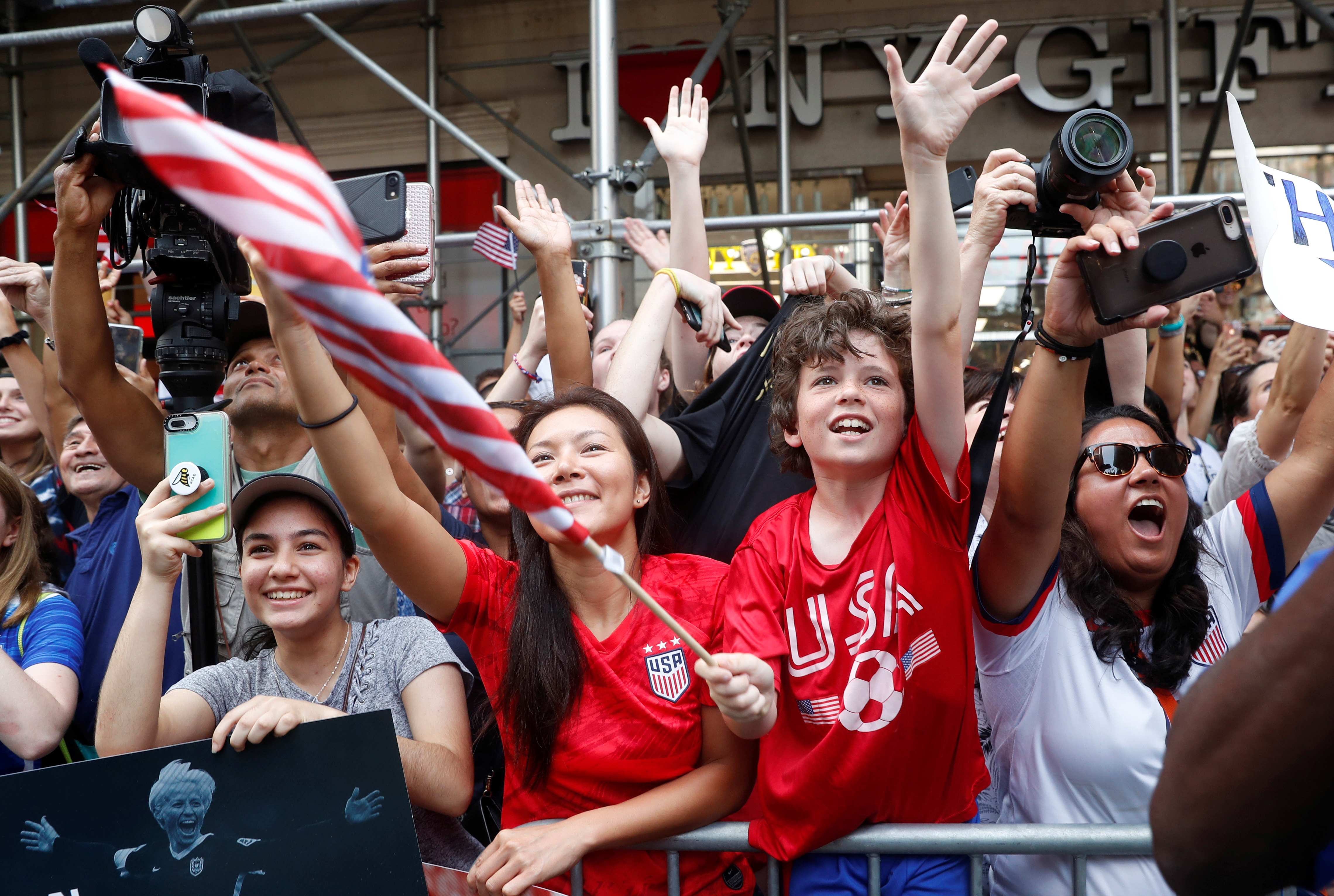Women's World Cup Champions Parade - New York, United States - July 10, 2019 Fans during the parade.
