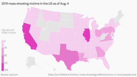 A map of the US injuries and deaths related to mass shootings as of 2019.
