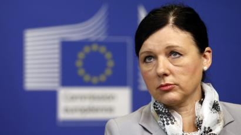 EU justice commissioner Vera Jourova gives an unimpressed look.