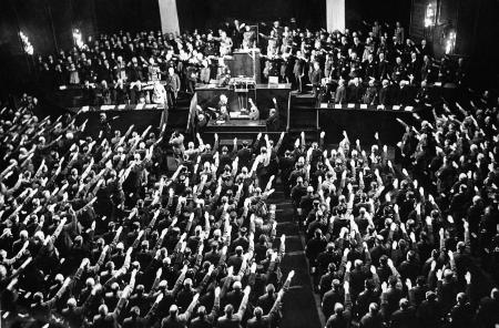 Adolf Hitler addressing the German Reichstag in Berlin on Jan. 30, 1934