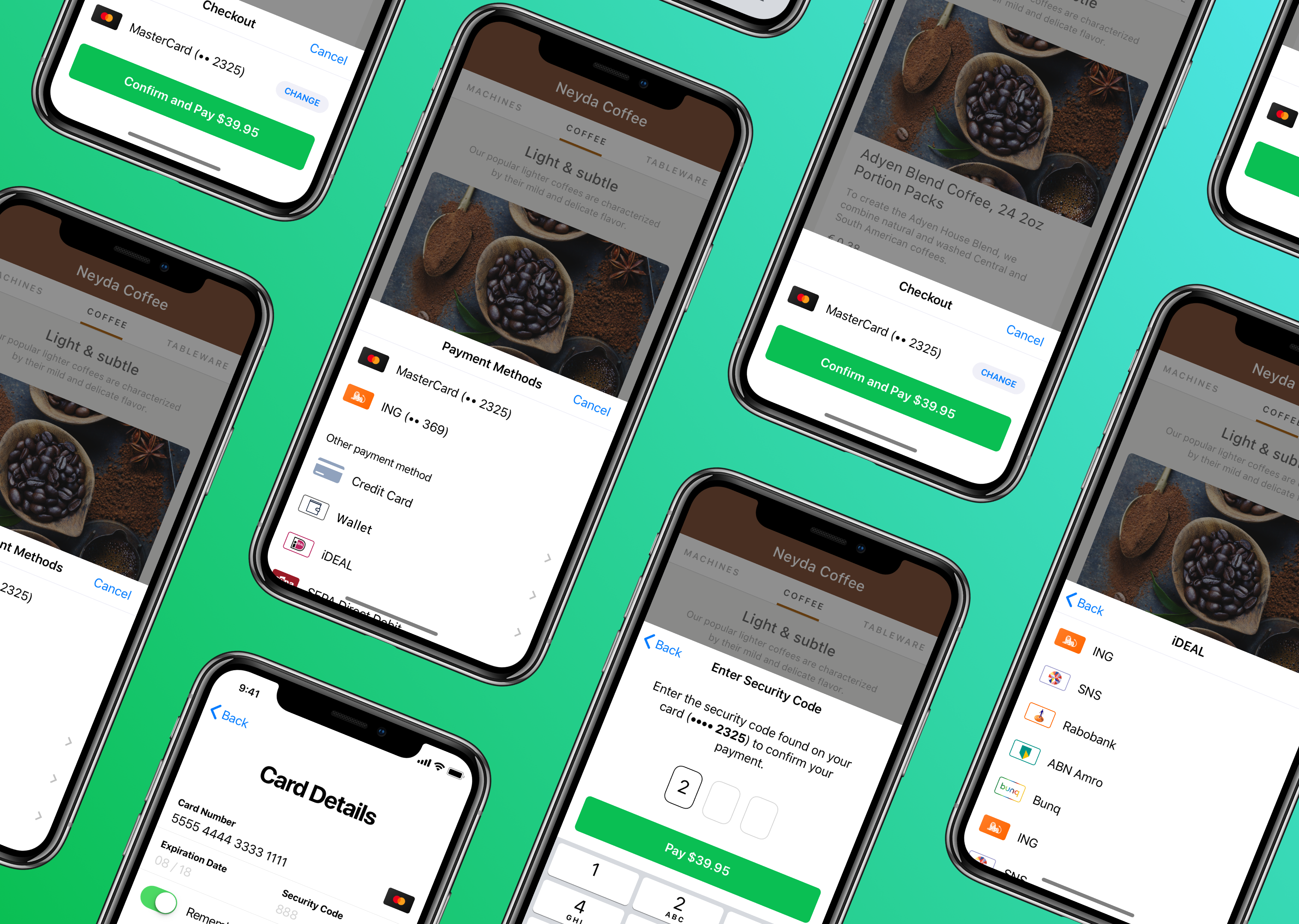 Mobile interface for Adyen, a payments processing company.