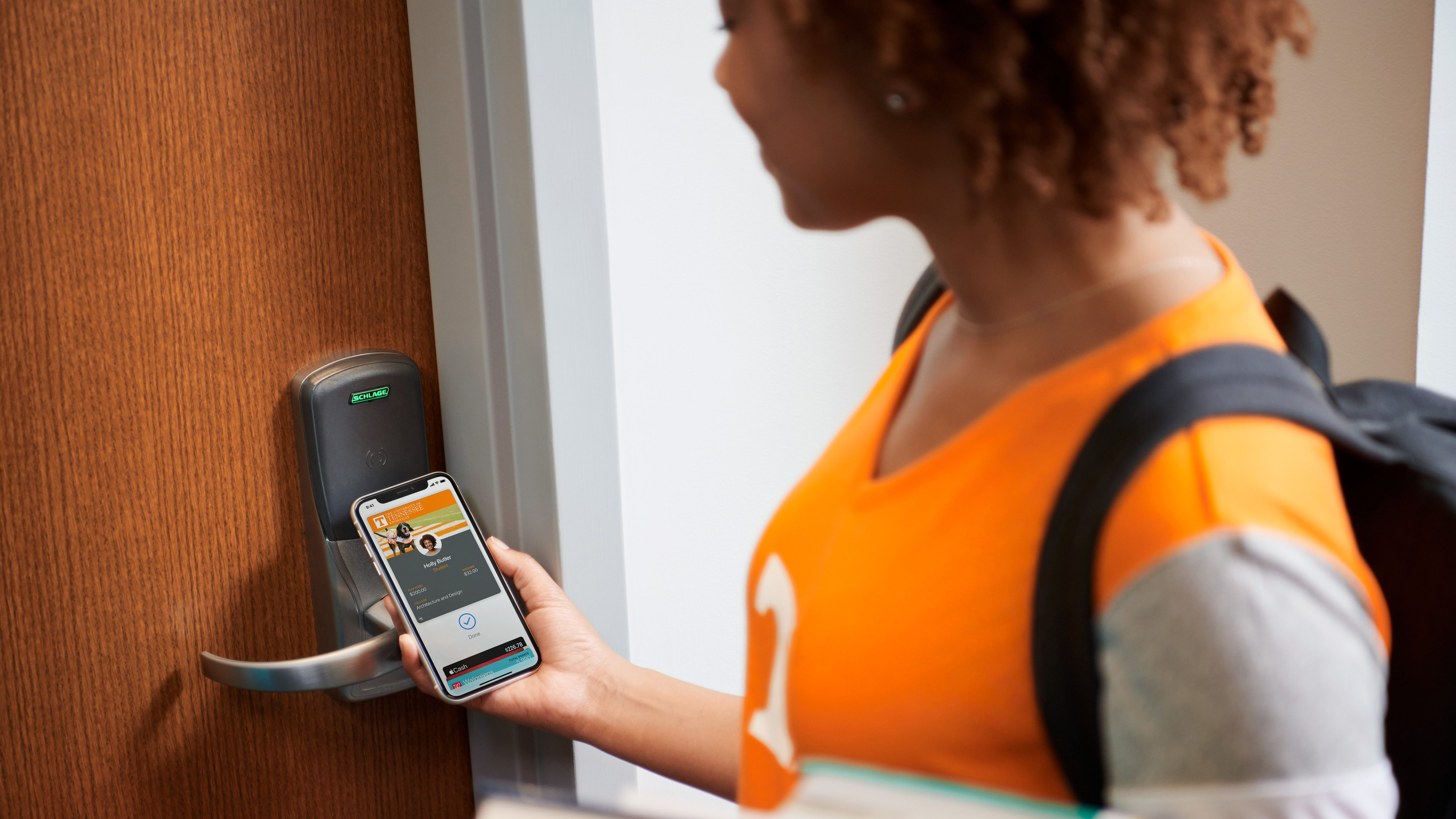 Unlocking a door with an iPhone.