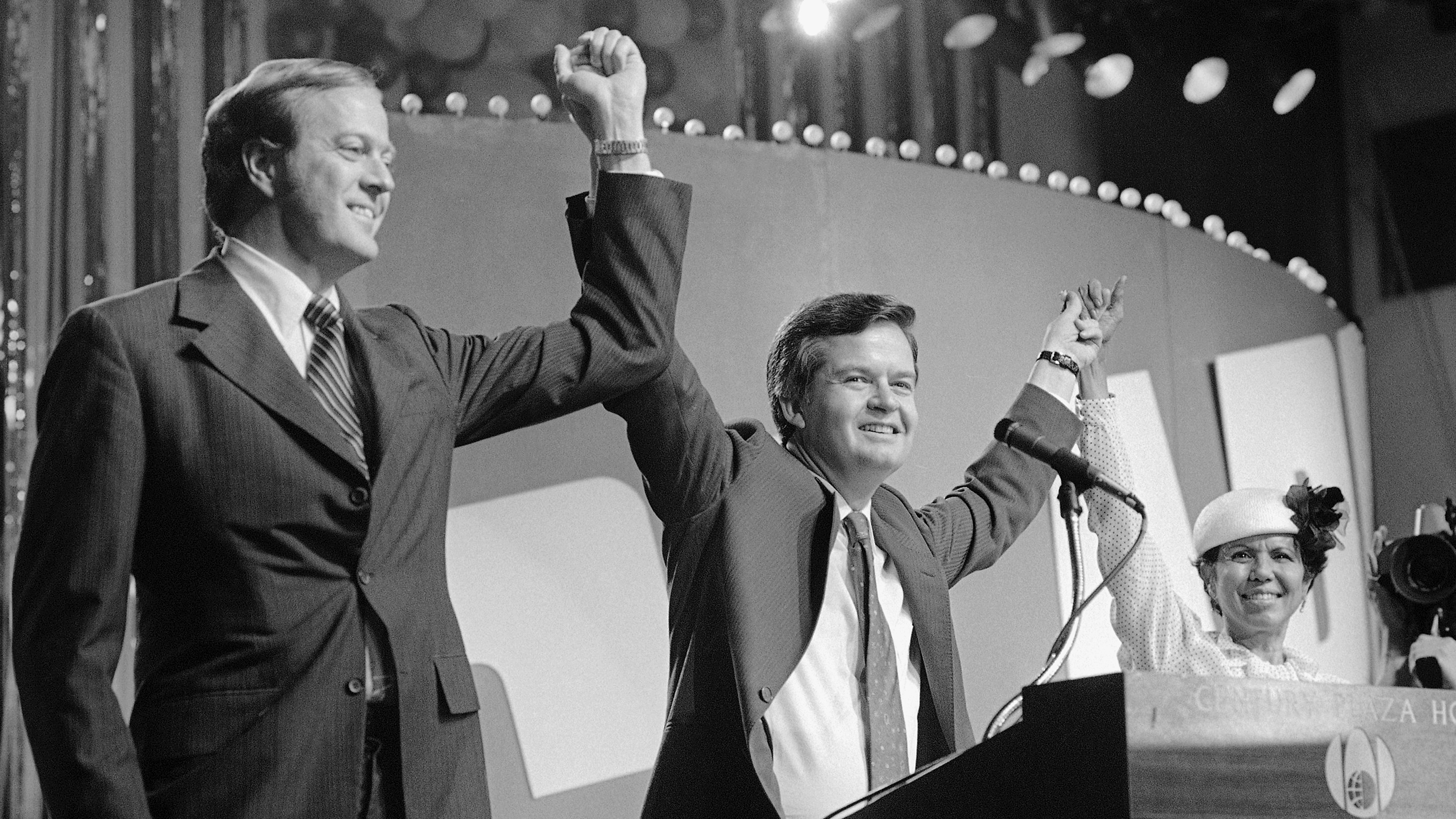 David Koch, left, running for vice president on the libertarian ticket in 1980.