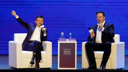 Tesla Inc CEO Elon Musk and Alibaba Group Holding Ltd Executive Chairman Jack Ma attend the World Artificial Intelligence Conference (WAIC) in Shanghai, China, August 29, 2019.