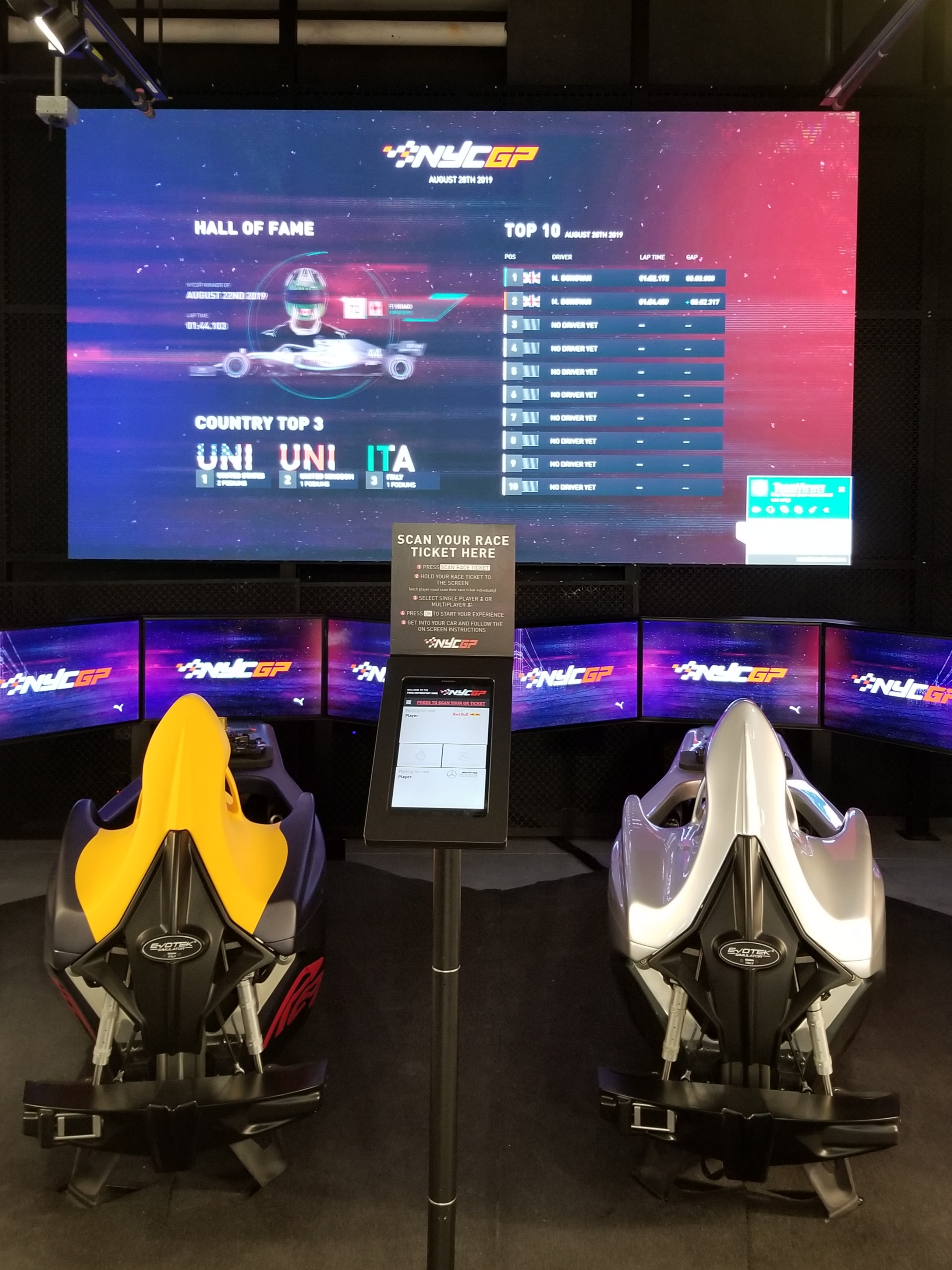 The F1 racing simulator at Puma's New York store