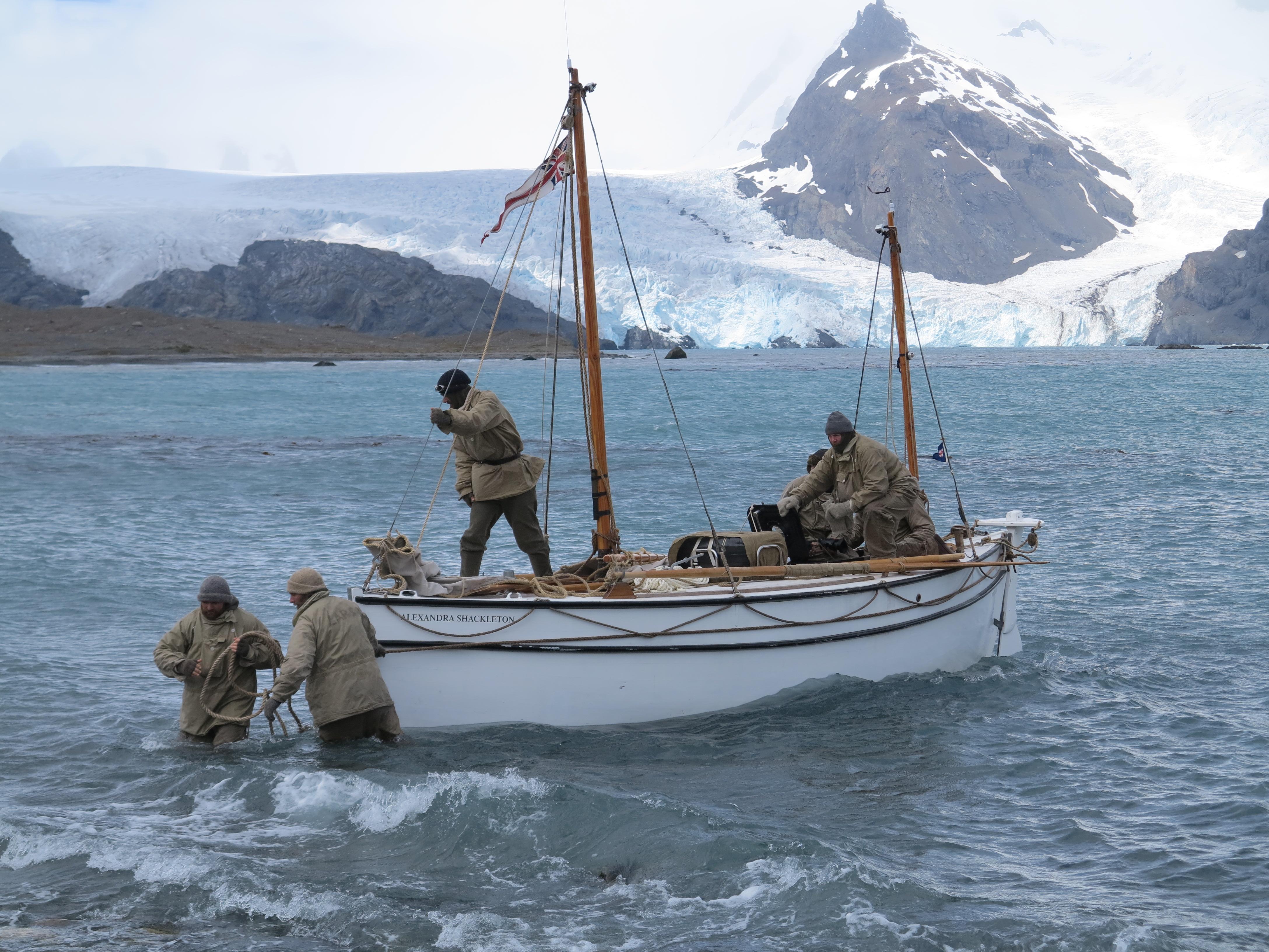Shackleton Epic crew bringing Alexandra Shackleton onshore at South Georgia. Image Jo Stewart
