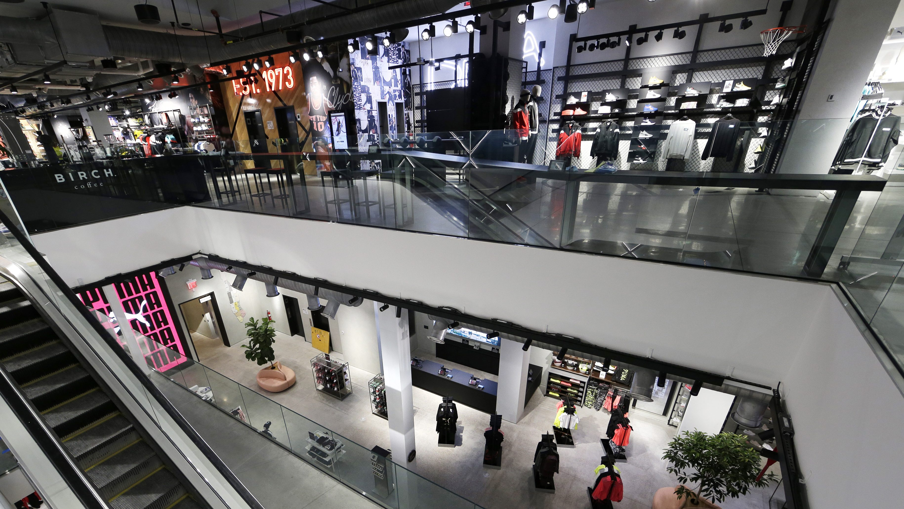 A view of the interior of the Puma store