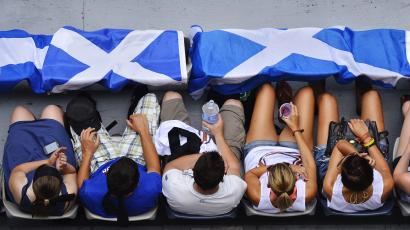 Fans with Scottish flags are pictured at Hisense Arena where the men's singles match between Joao Sousa of Portugal and Andy Murray of Britain will be played at the Australian Open tennis tournament in Melbourne