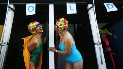 Swimmers prepare to get into the water during the UK Cold Water Swimming Championships at Tooting Bec Lido in south London
