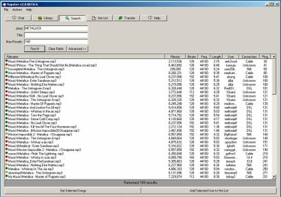 Screengrab of the Napster program