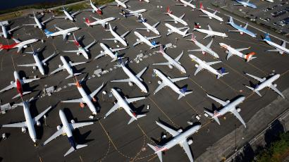 Dozens of grounded Boeing 737 MAX aircraft are seen parked in an aerial photo at Boeing Field in Seattle, Washington, U.S. July 1, 2019.