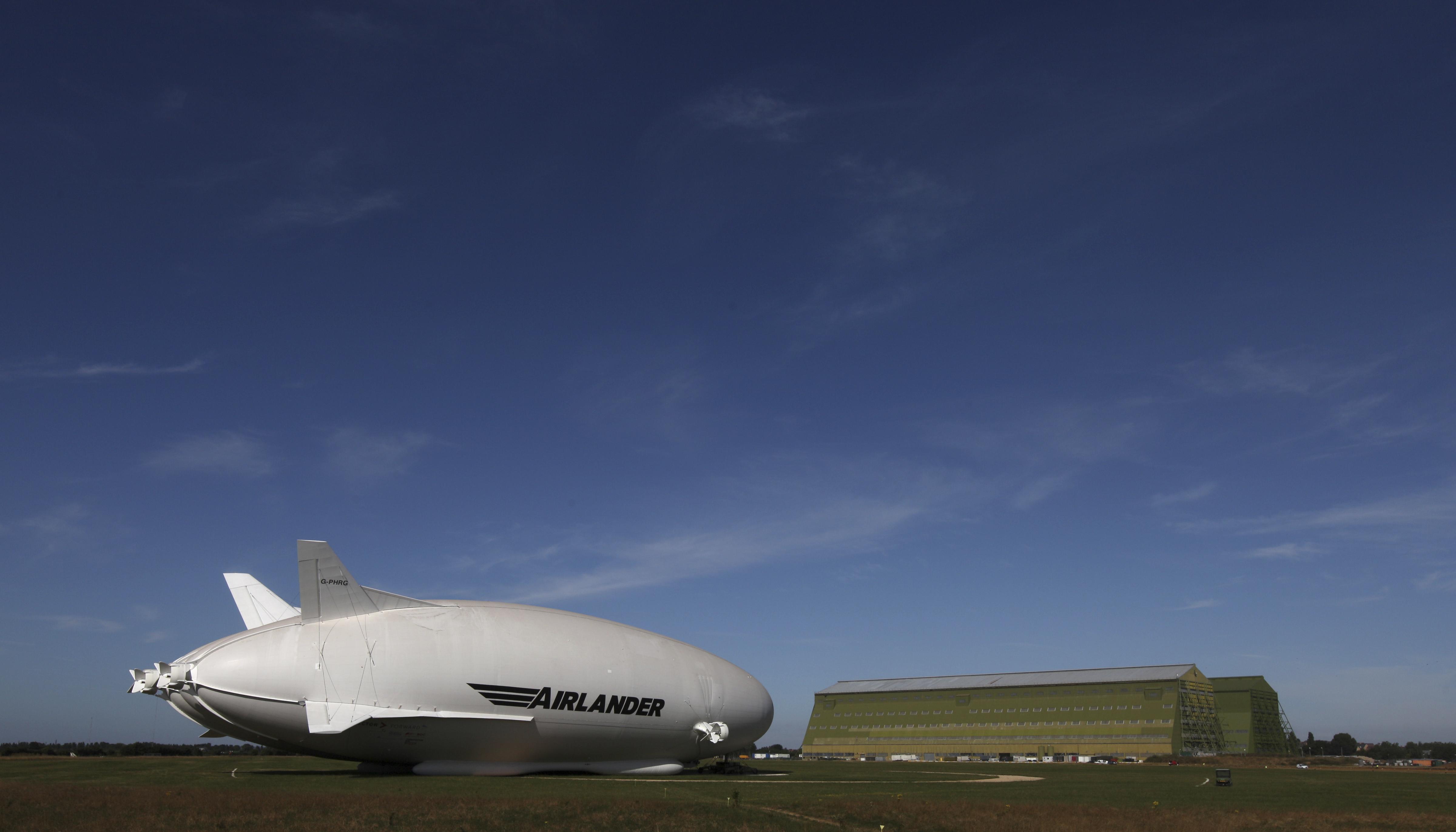 The Airlander 10 hybrid airship is seen at Cardington Airfield
