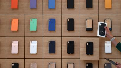 A wall of Apple iPhone cases