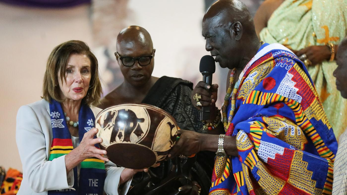 "The timely symbolism of a ""400 years"" visit to Ghana by Nancy Pelosi and black US congress members"