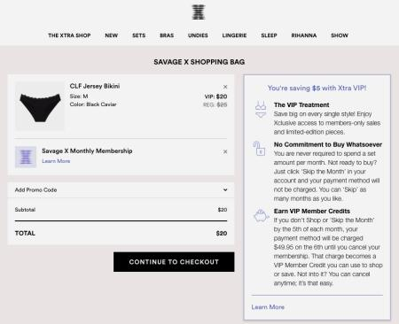 A screenshot of the checkout page on the Savage x Fenty site