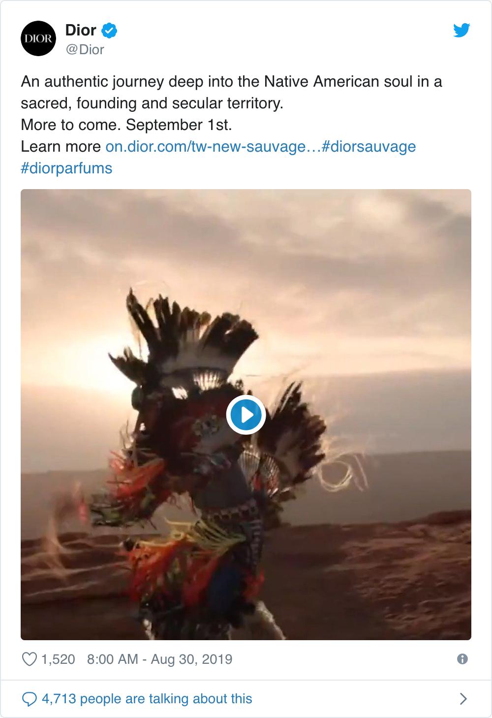 A screenshot of Dior's tweet showing a Native American dancer.
