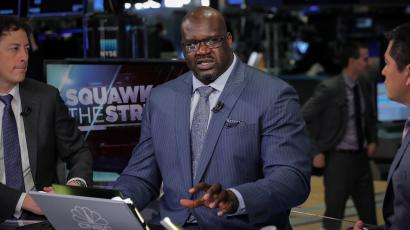 Former basketball star Shaquille O'Neal, speaks during an interview on CNBC about joining the board of Papa John's International Inc., on the floor of the New York Stock Exchange