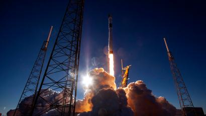 A SpaceX Falcon 9 rocket launches a satellite in 2019.