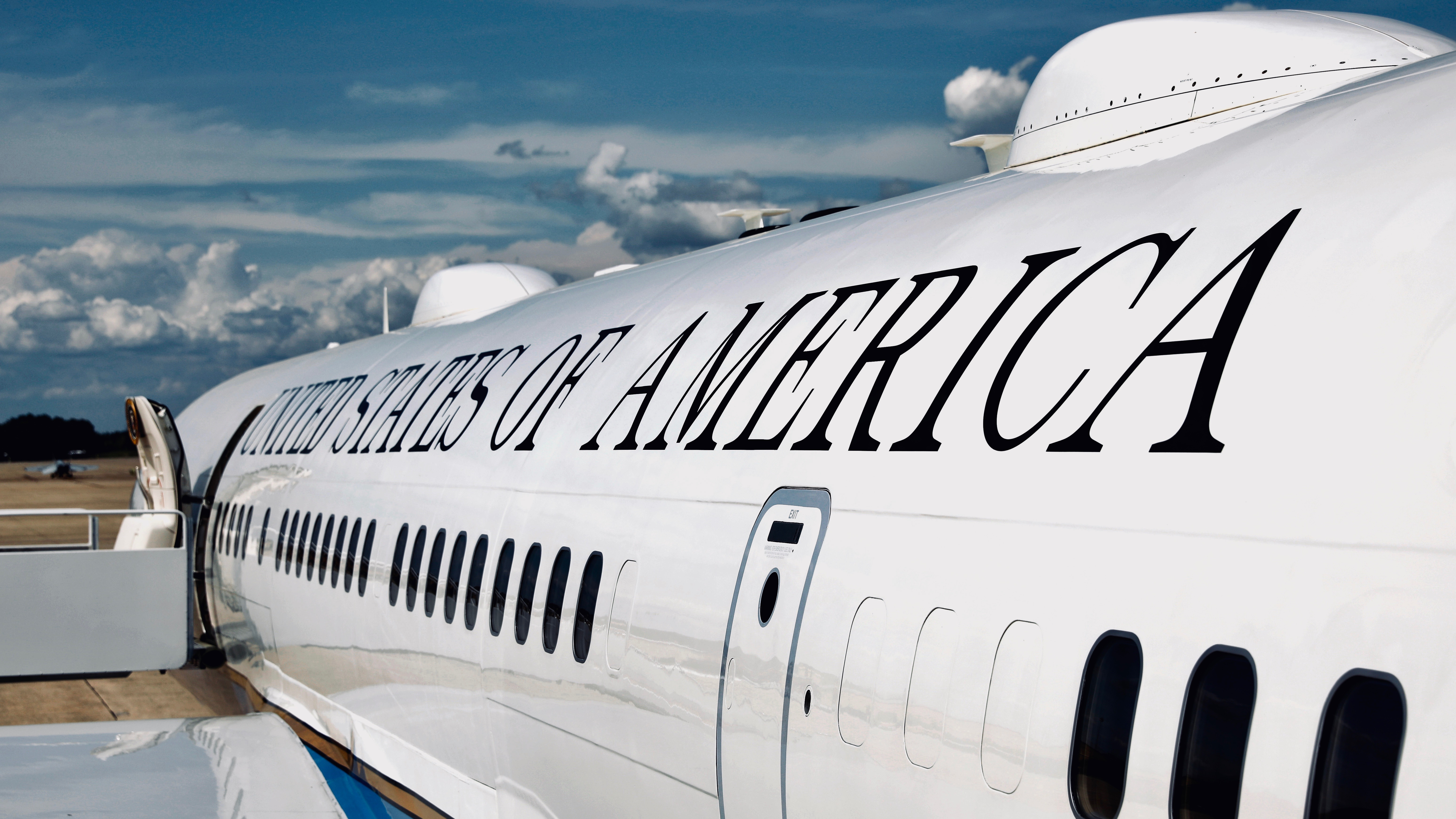 A portion of Air force One, the US presidential plane.