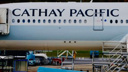A passenger plane of Cathay Pacific Airways parks at the airport in Colomiers near Toulouse.