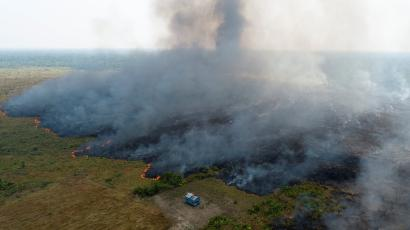 An aerial view shows smoke rising over a deforested plot of the Amazon jungle in Porto Velho, Rondonia State, Brazil, August 27.