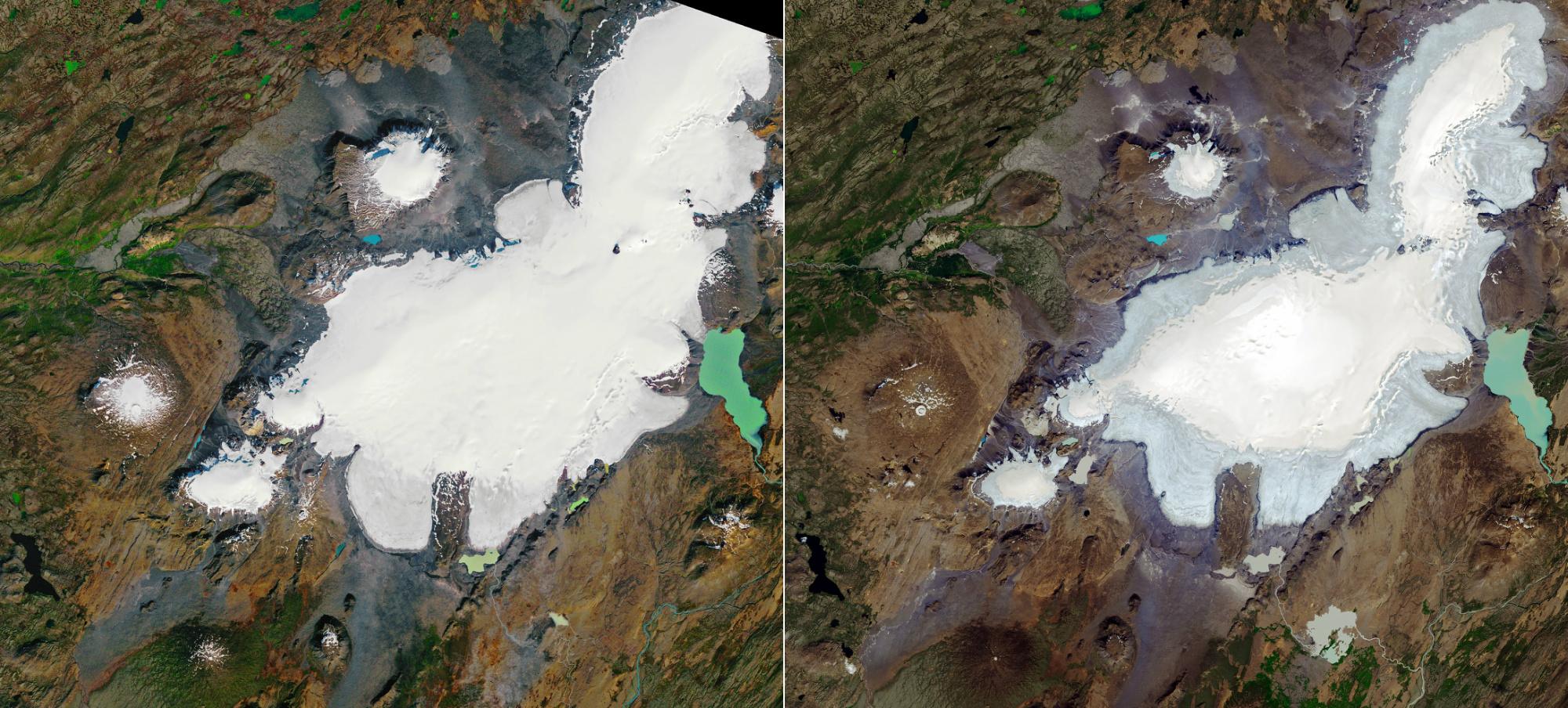 Okjökull glacier melting
