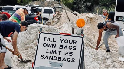 Floridians fill sandbags in preparation for hurricane.