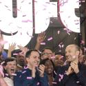 Lyft's co-founders and employees cheer its trading debut.
