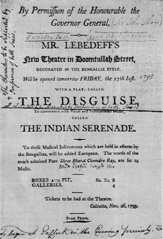 Russian Gerasim Lebedev pioneered Bengali theatre in the 1700s