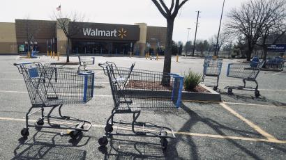 A vacant Walmart is pictured as water is released from the Lake Oroville Dam after an evacuation was ordered for communities downstream from the dam in Oroville, California, U.S.