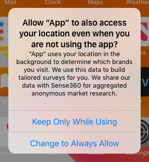 Notification requesting permission to access your location even you are not using the app