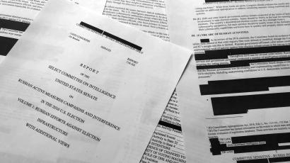 Pages from the Senate Intelligence Committee report that details Russian interference in the 2016 U.S. election