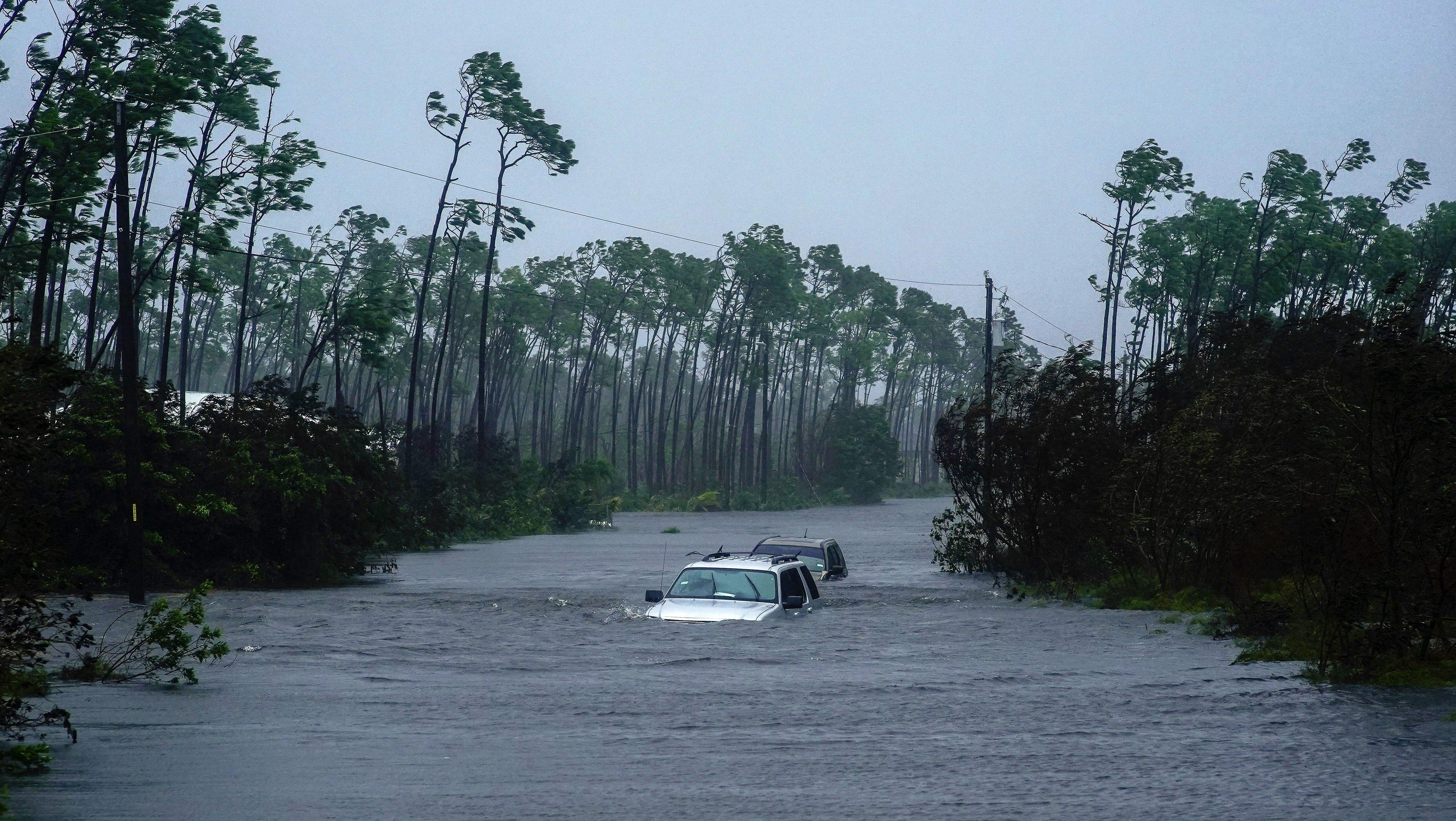 Submerged cars in Freeport, Bahamas on Sept. 3.