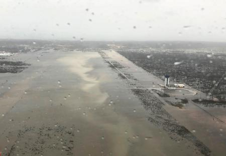 Flooding on the runway of the Marsh Harbour Airport in the Bahamas, seen on Sept. 2.