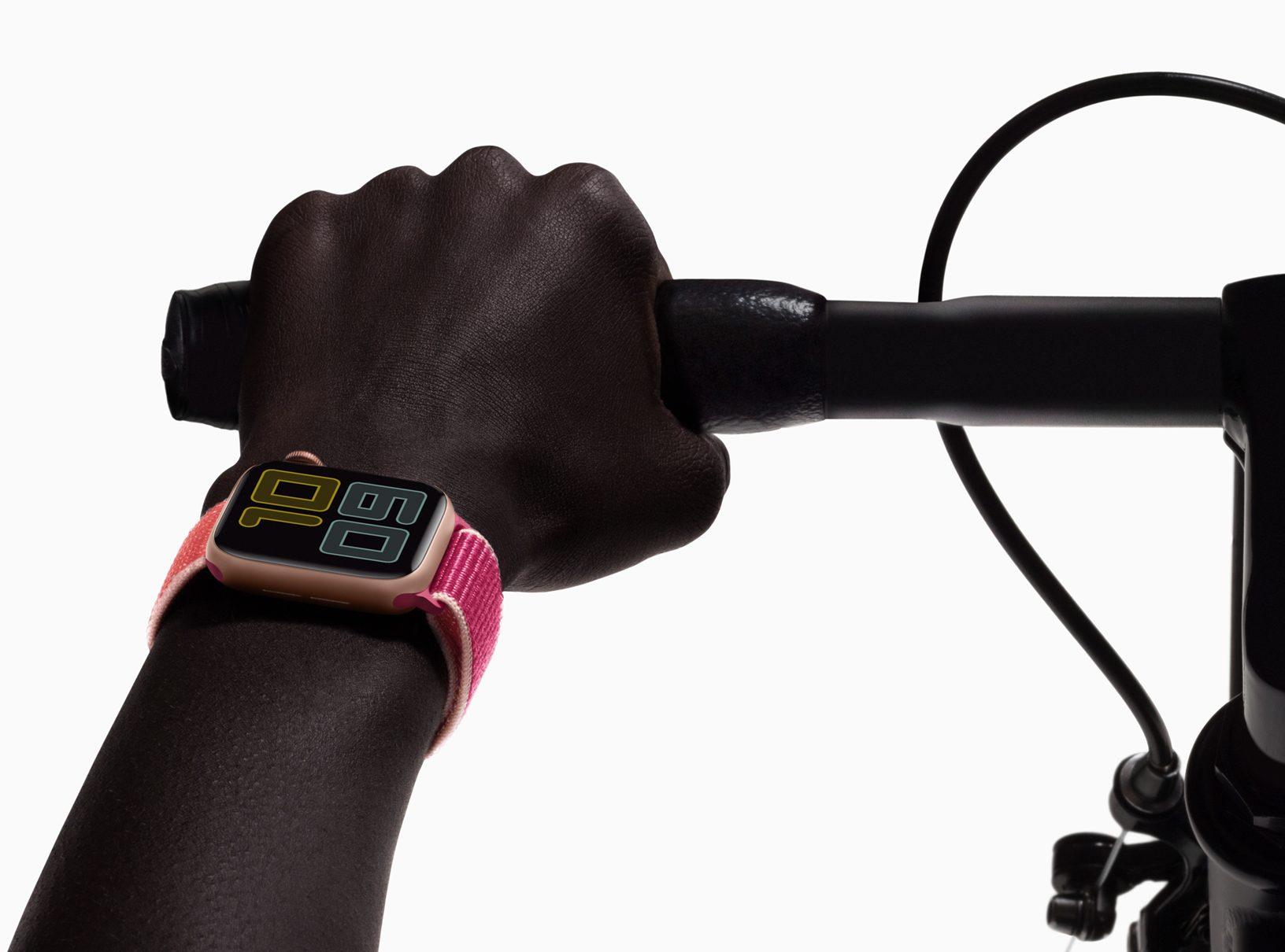 Apple Watch on wrist of biker