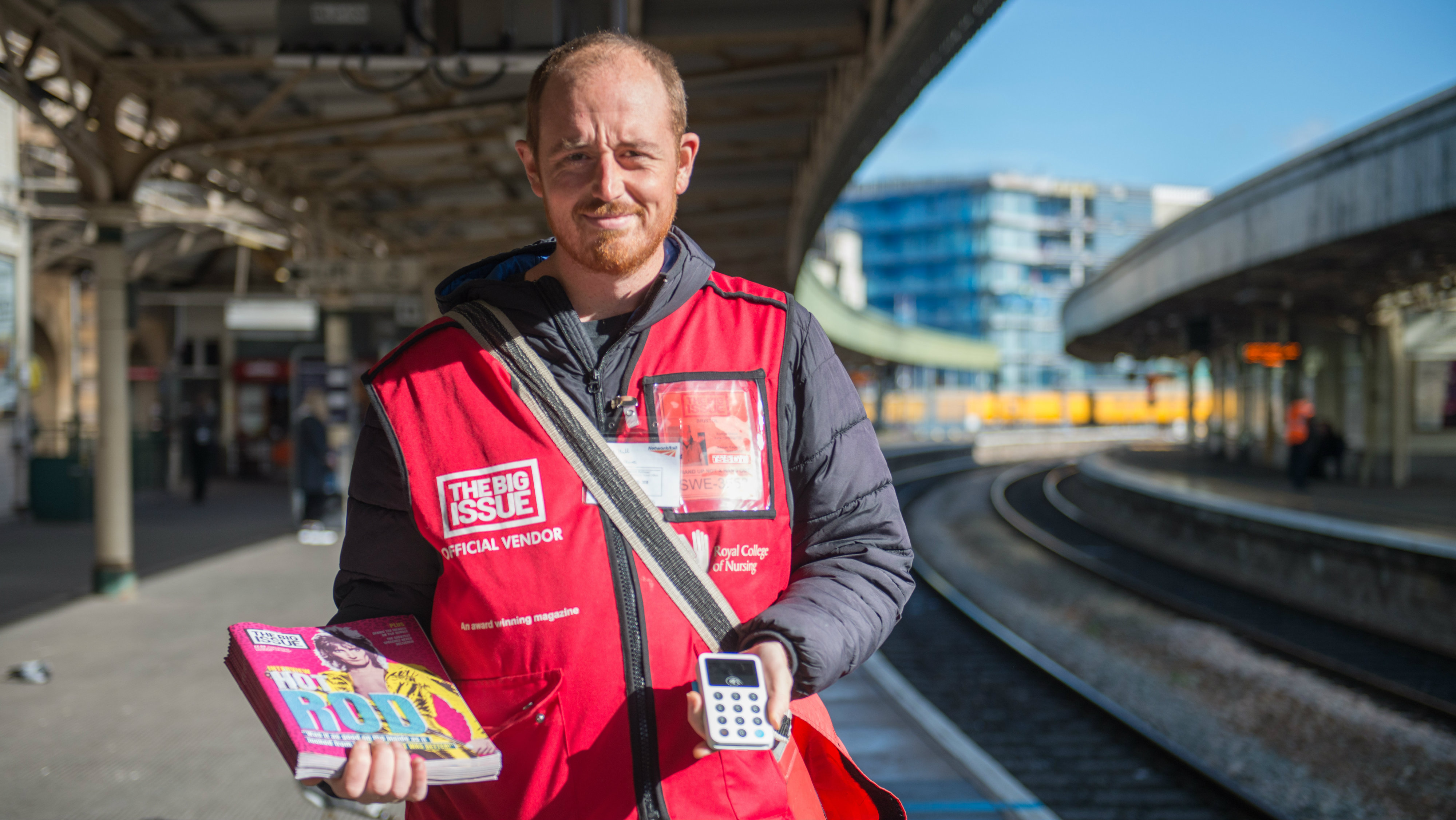 Big Issue magazine vendor Mike Hall.