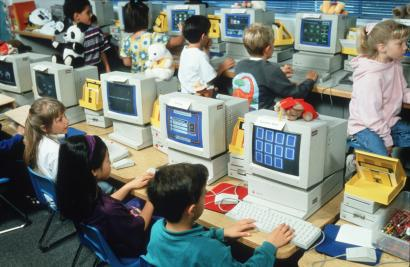 Children use Apple Computers in their classroom June 1994