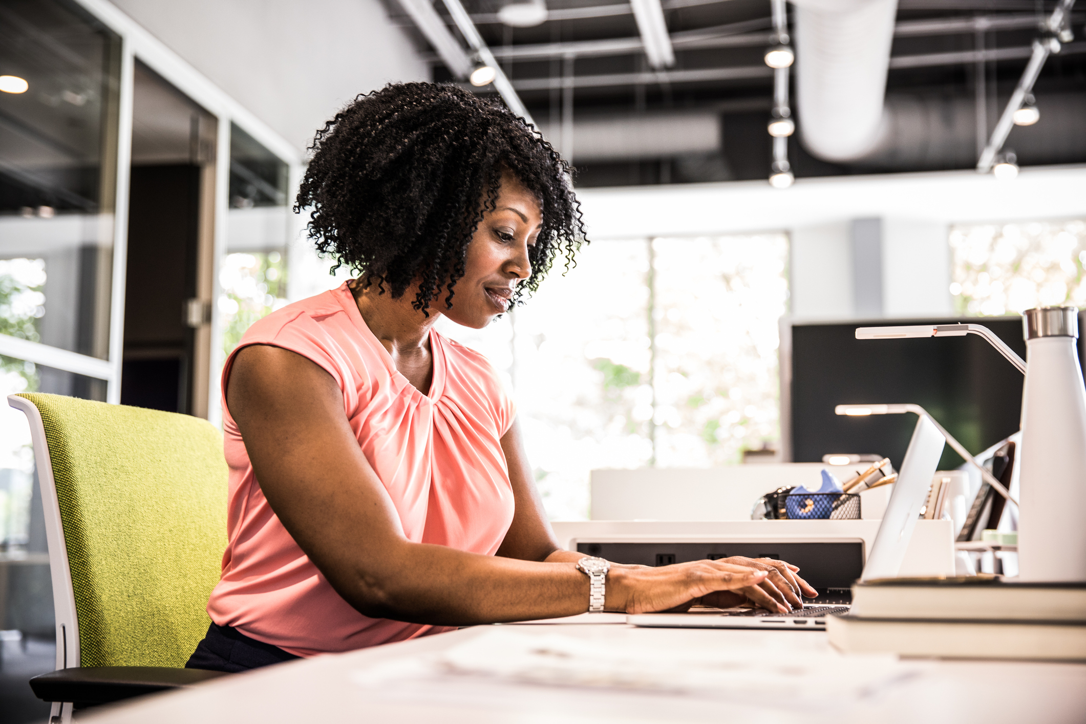 Woman working in modern business office