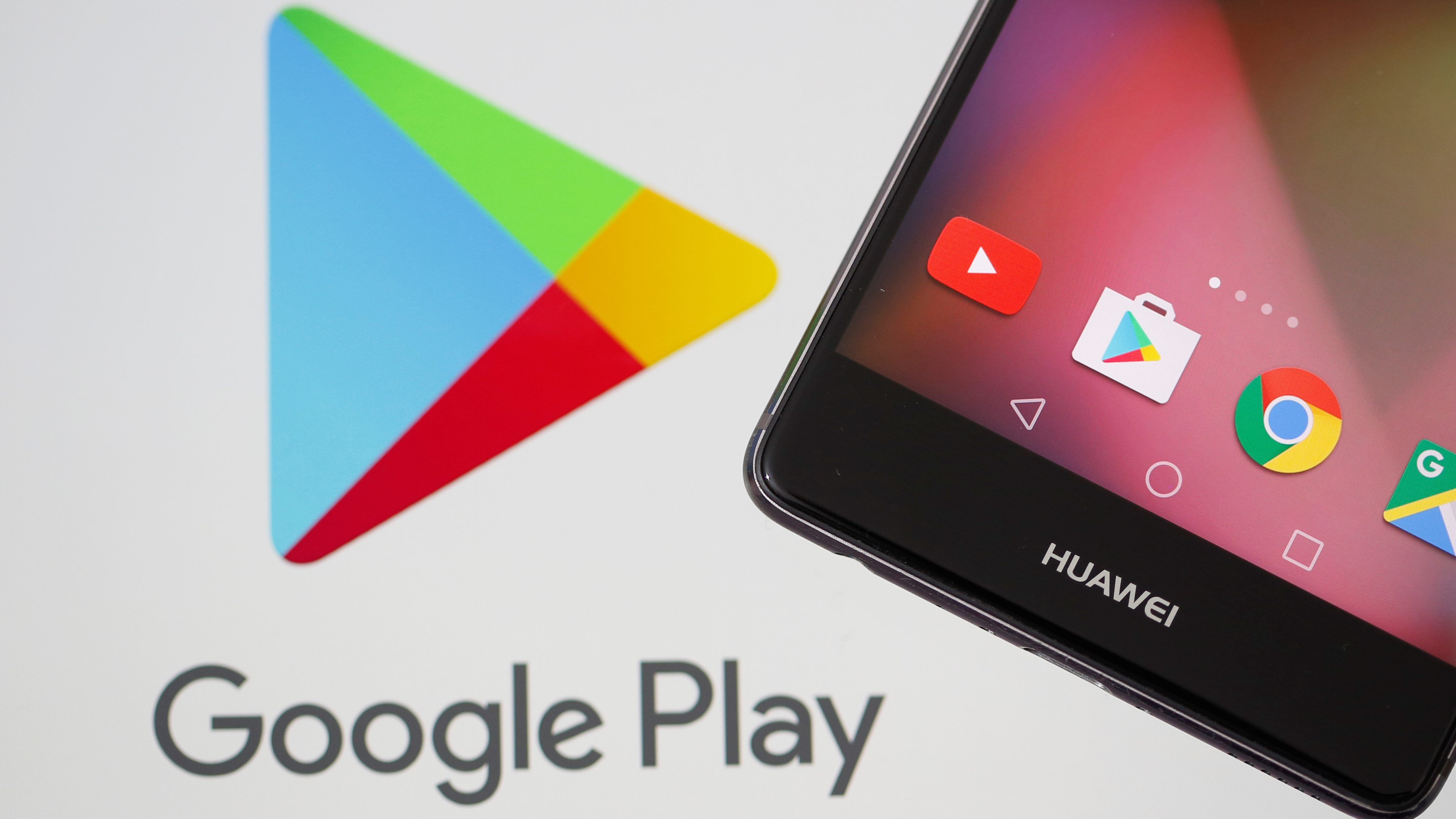 Google Play logo and Huawei smartphone