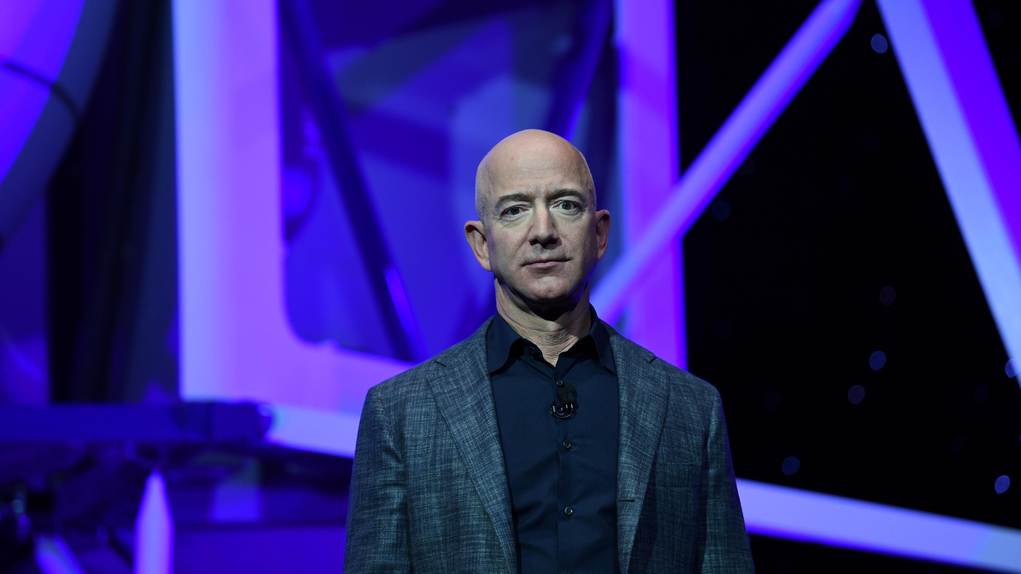 Jeff Bezos unveils his space company Blue Origin's space exploration lunar lander rocket called Blue Moon.