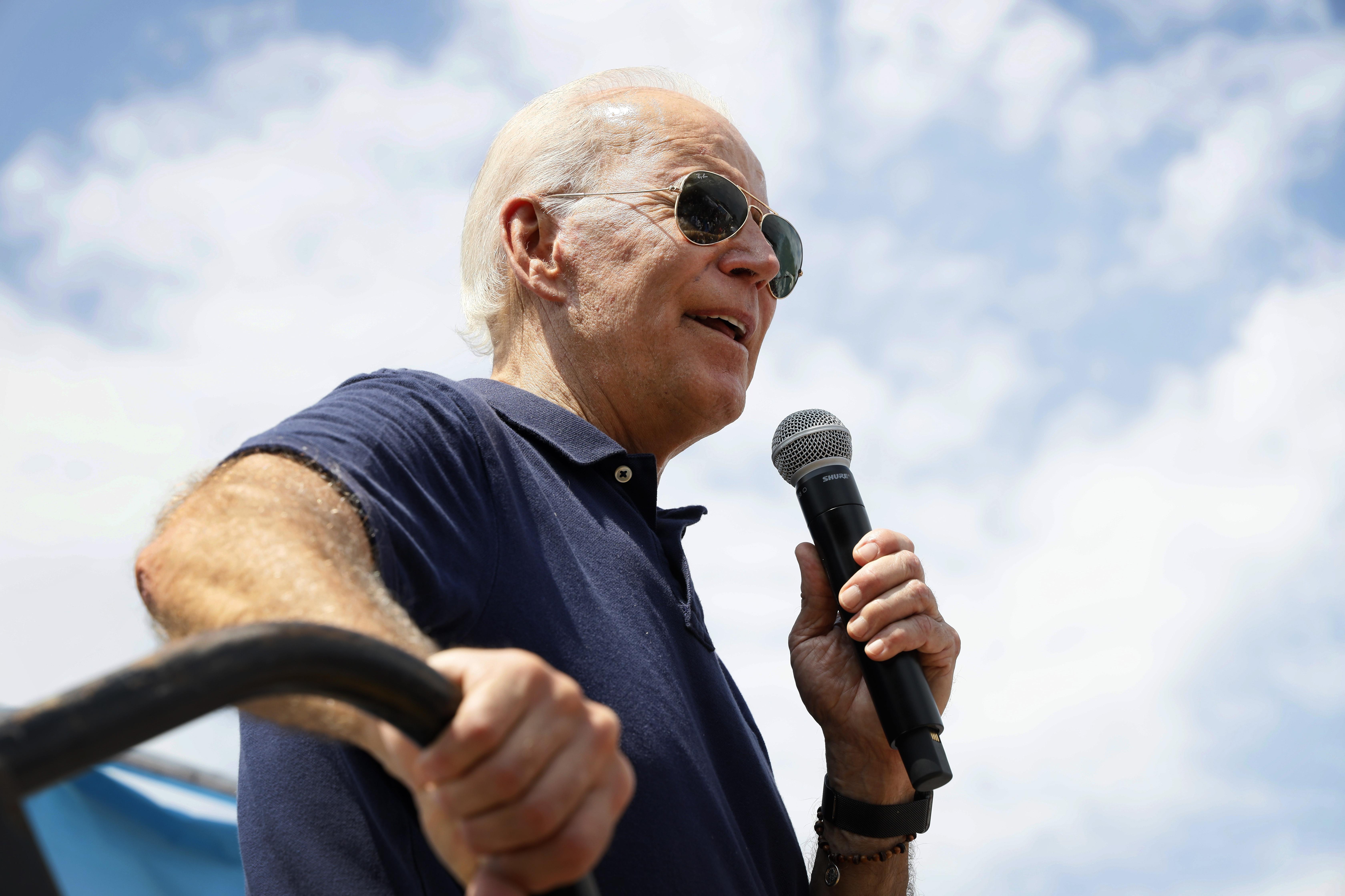 US presidential candidate Joe Biden speaking to a crowd.