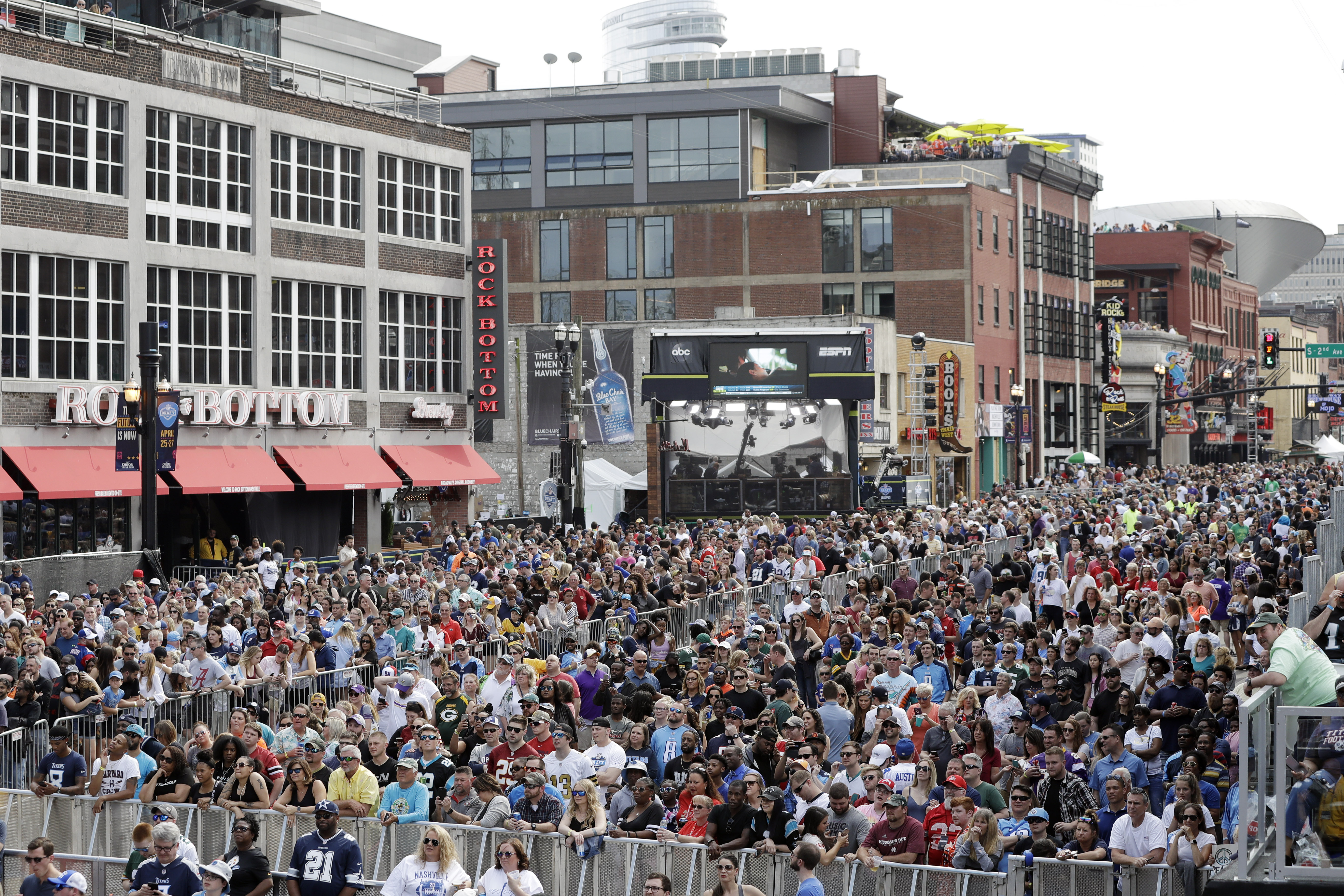 Downtown Nashville is blocked off for the NFL draft