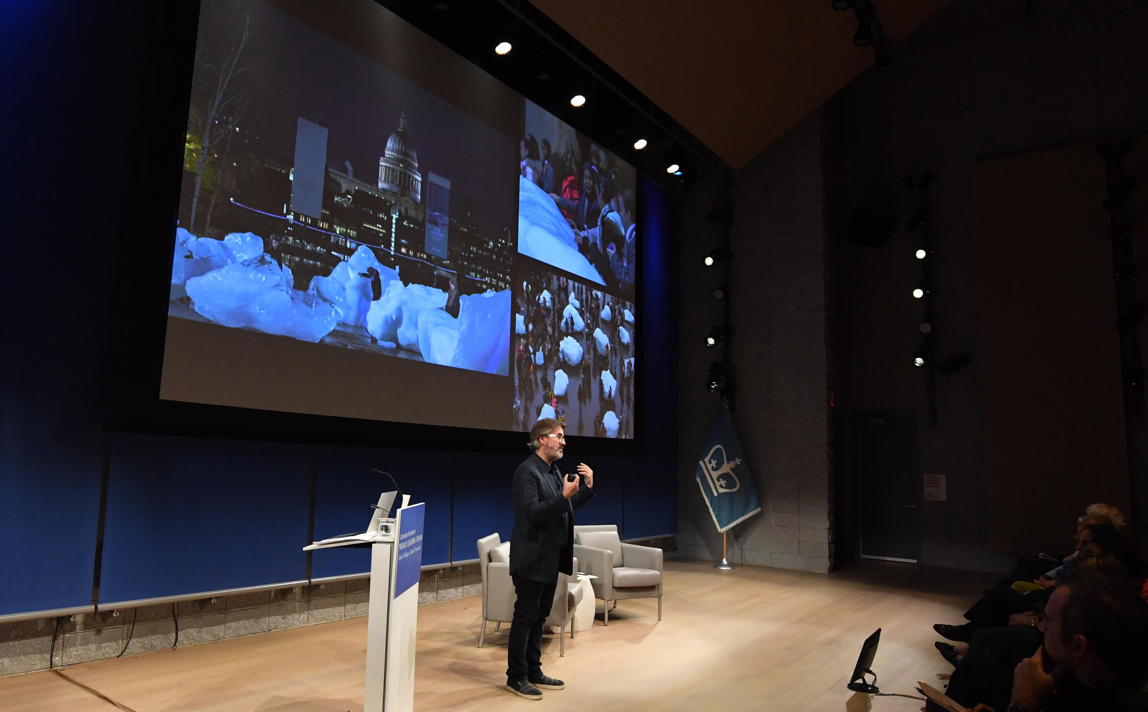 Olafur Eliasson speaking at the UN Climate Action Summit on Sept. 26, 2019.