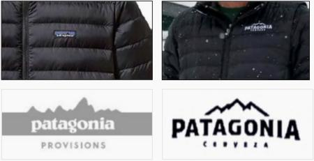 A Patagonia jacket and logo side-by-side with those by Patagonia Brewing