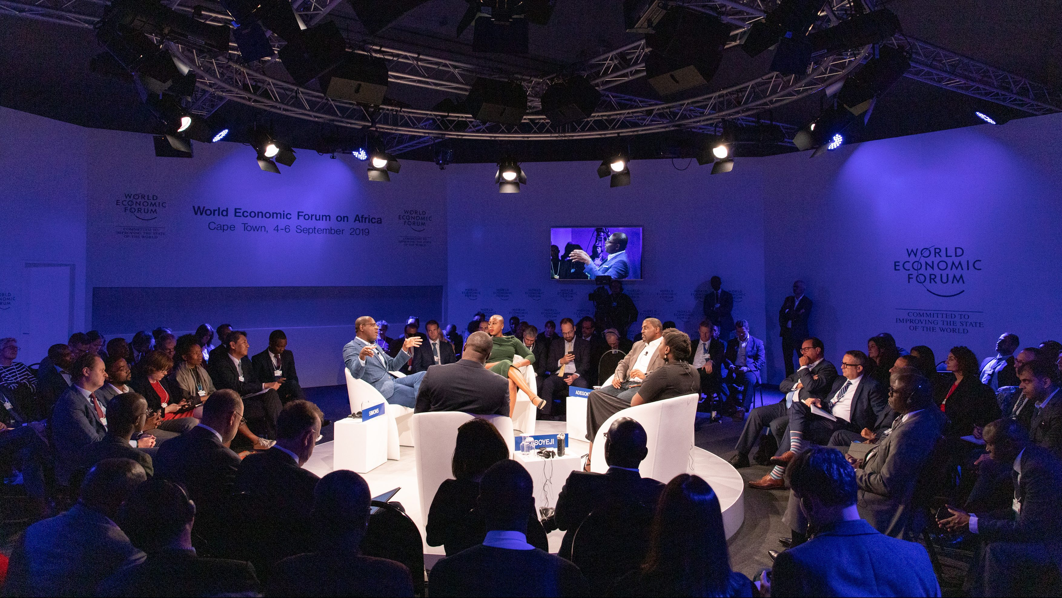 Quartz Africa panel at the World Economic Forum in Cape Town, South Africa
