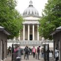 Students and visitors are seen walking around the main campus buildings of University College London (UCL) in London, Britain